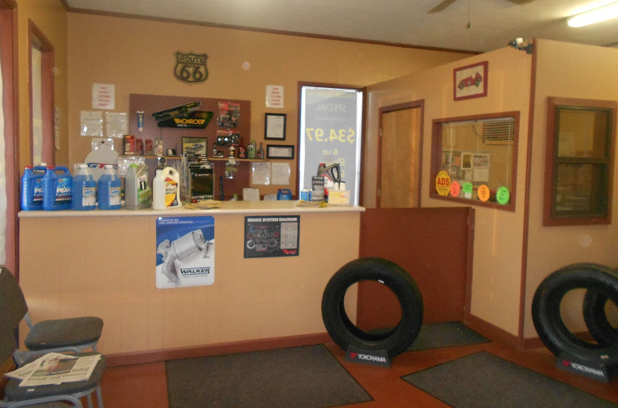 New tires and supplies available in lobby of Done Right Automotive